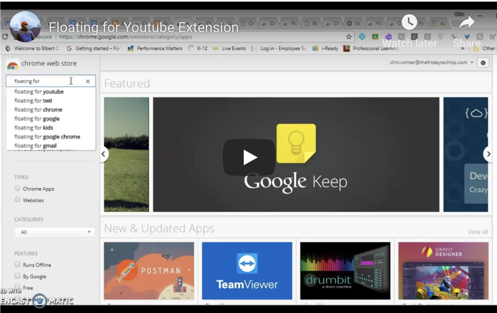 floating chrome extension