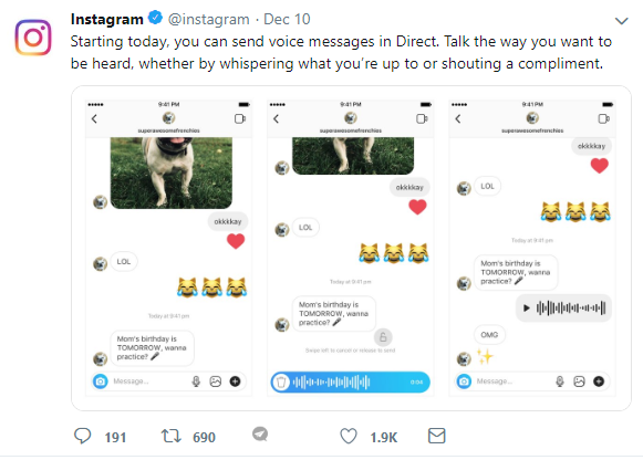 instagram new feature tweet