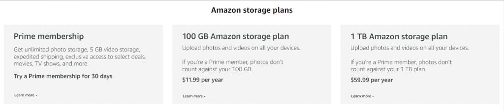 amazon storage plans
