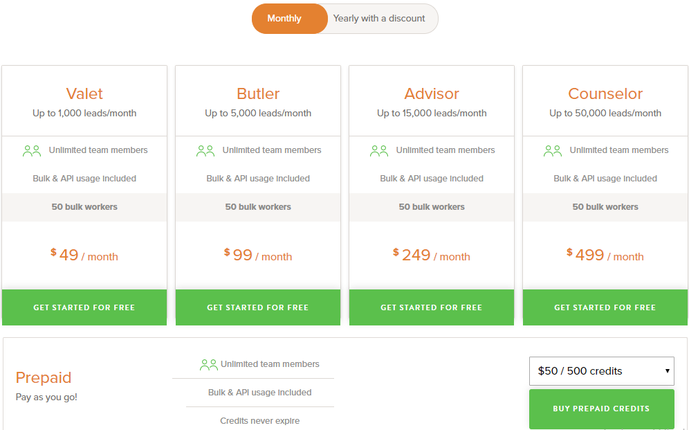 email finder tool pricing