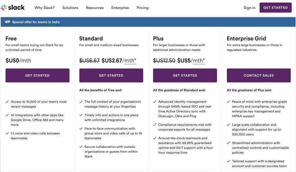 slack tool pricing