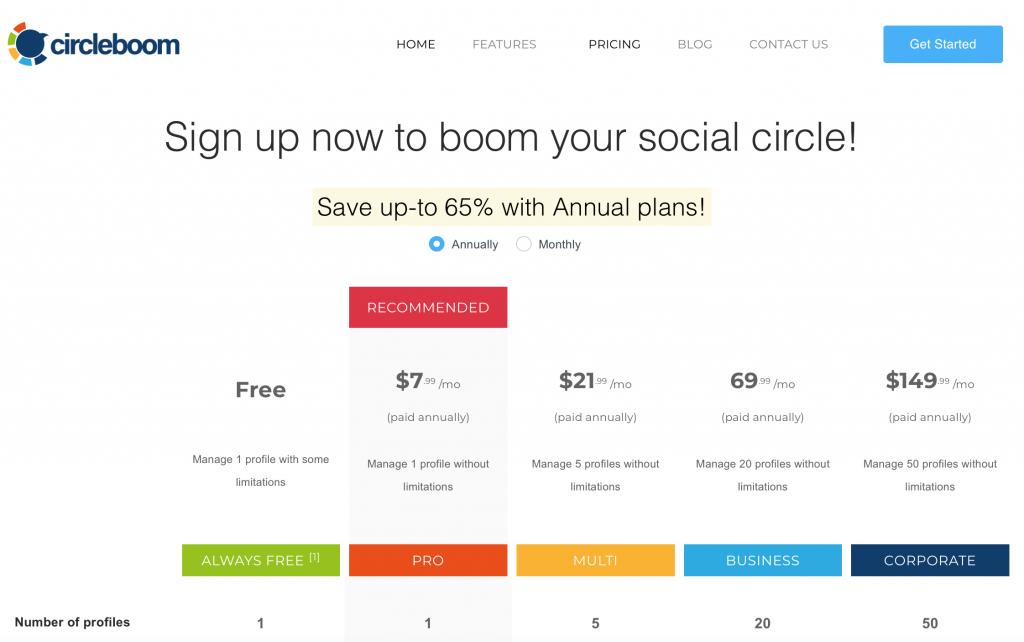 circleboom pricing plan