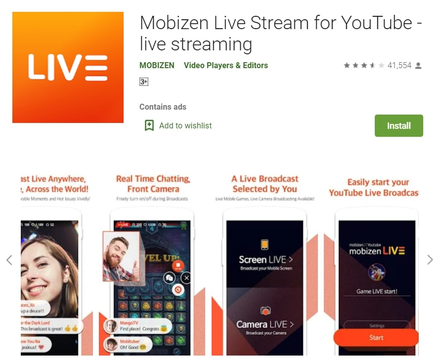 youtube live streaming mobile app